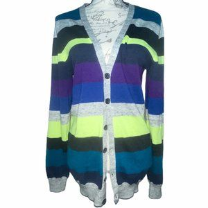 👗👖NWT H&M Neon Striped Buttoned Cardigan V-Neck